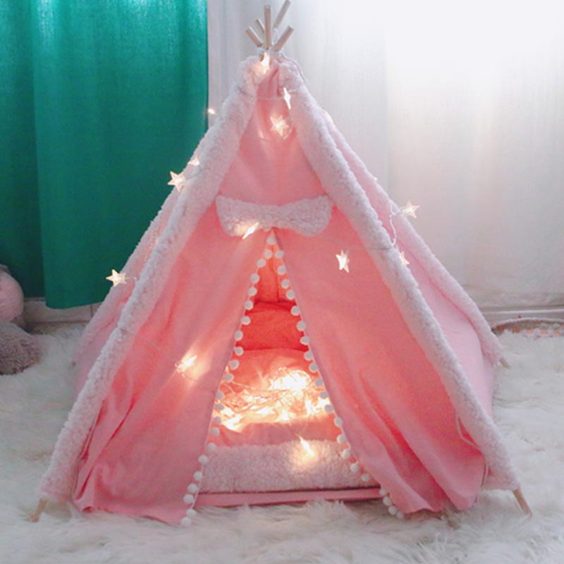 dog teepee bed pink