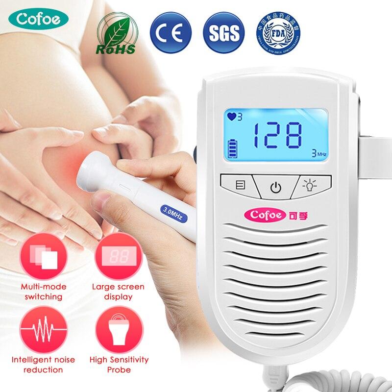 Cofoe fetal doppler ultra-som detector casa bebê monitor de freqüência cardíaca médico doppler sem radiação estetoscópio bolso 3mhz