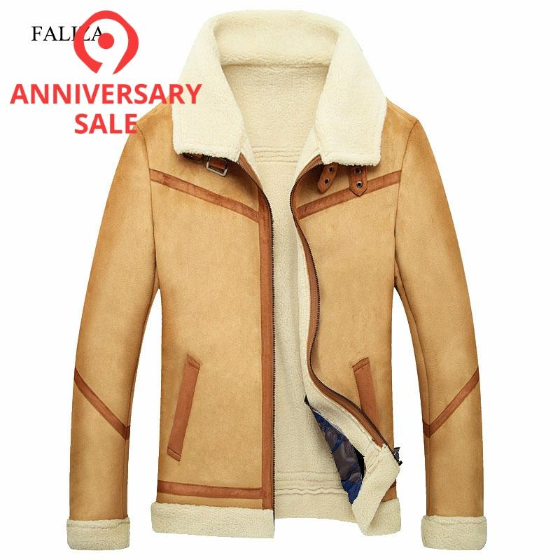 FALIZA New Winter Leather Coats Mens Faux Fur Coat Male Leather Jacket Fleece Lined Velvet Thick Slim Thermal Fur Jacket Men JKF