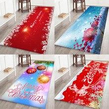 купить Christmas mat, Christmas holiday atmosphere, Santa Claus, Christmas elemental printed flannel home Anti-Slip absorbent mat онлайн