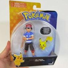Takara tomy anime pokemones treinador ash ketchum com pika pokemones figura de ação bonecas brinquedos anime figurinhas presentes para crianças