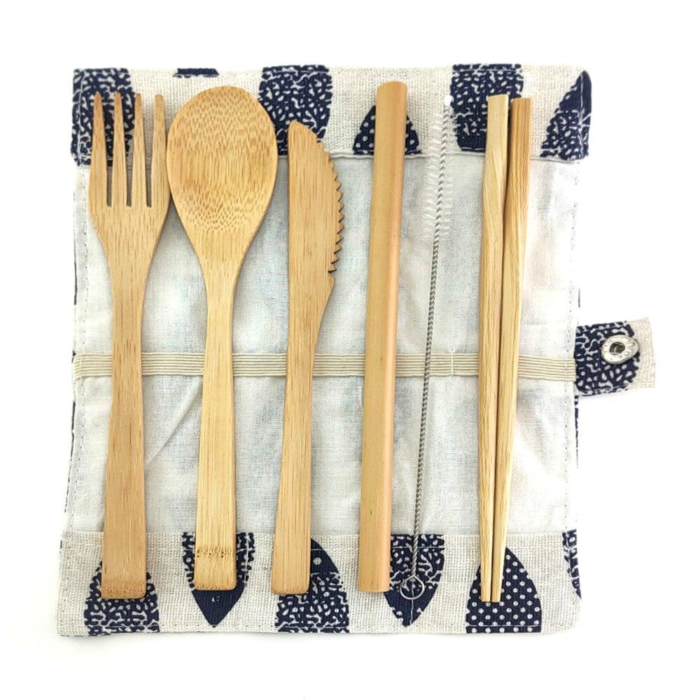 Di bambù Posate Set Da Viaggio Set di Posate Eco-Friendly Set di Posate Coltello, Forchetta, cucchiaio e Paglia di Legno Posate Set di Posate Da Campeggio