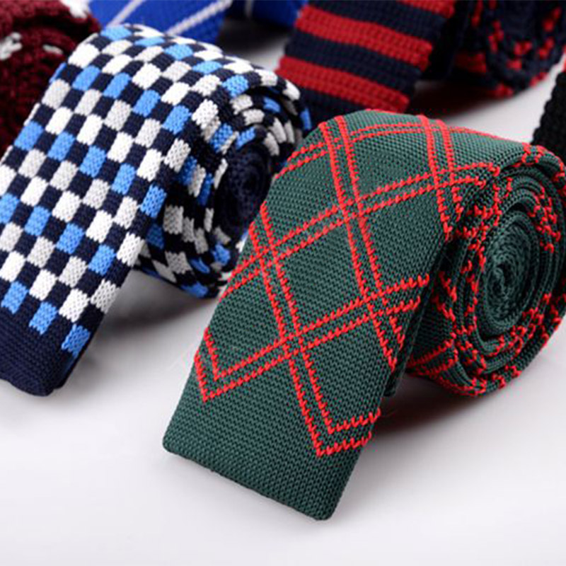 Men's Knit Skinny Tie 5cm Casual Slim Necktie Red Navy Striped Solid Weave Cravat Business Wedding Dress Neck Ties Accessories
