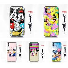 Mickey Mouse And Mickey For Apple iPhone X XS Max XR 5 5C 5S SE 6 6S 7 8 Plus Silicone TPU Frame Tempered Glass Silicone Case(China)