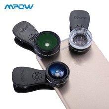 цена на Original Mpow MFE4 Clip-On Phone Camera Lens Kits 180 Degree Fisheye Lens + 0.36X Wide Angle + 20X Macro Lens for Cellphones