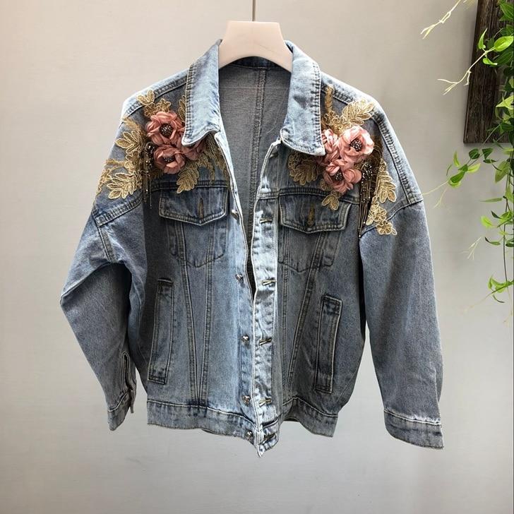 2019 mode Cool 3D fleur perles manches chauve-souris manches femmes Deinm veste manteau automne femmes Bomber veste manteau hauts pour les femmes