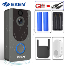 Eken v7 câmera para segurança residencial, intercomunicador visual sem fio com carrilhão ip, campainha, wi fi para vigilância de casa, 1080p