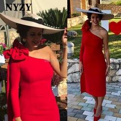 Лайкра, одно плечо, длинный рукав, красный, мать невесты, жених, платья NYZY C216, свадебное платье, торжественное платье, халат Soiree 2019