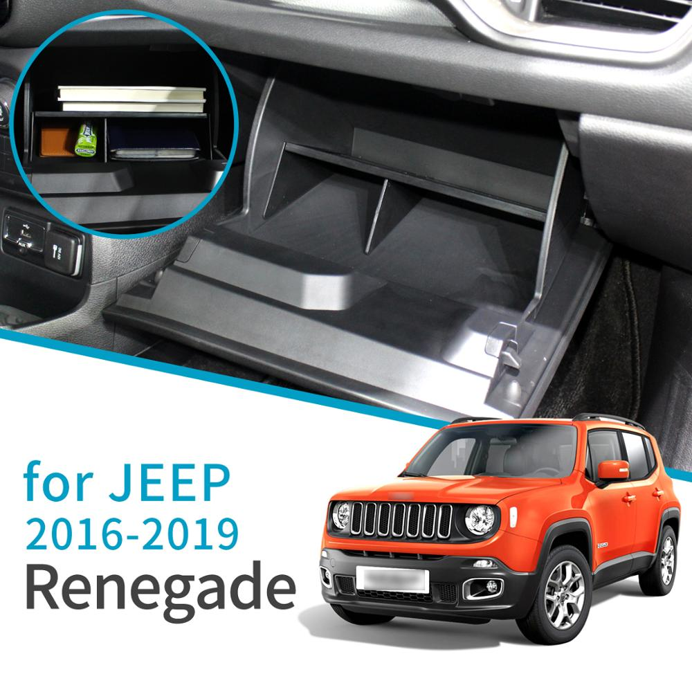 Smabee Car Glove Storage Box For Jeep Renegade 2015 2016 2017 2018 2019 Interior Accessories Car Co-pilot Storage Cosmetic Box
