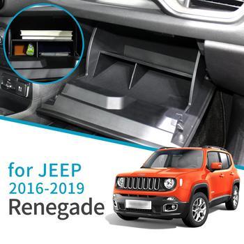 Smabee 자동차 장갑 보관 상자 Jeep Renegade 2015 2016 2017 2018 2019 인테리어 액세서리 자동차 부조종사 보관 화장품 상자|깔끔한 저장소|   -