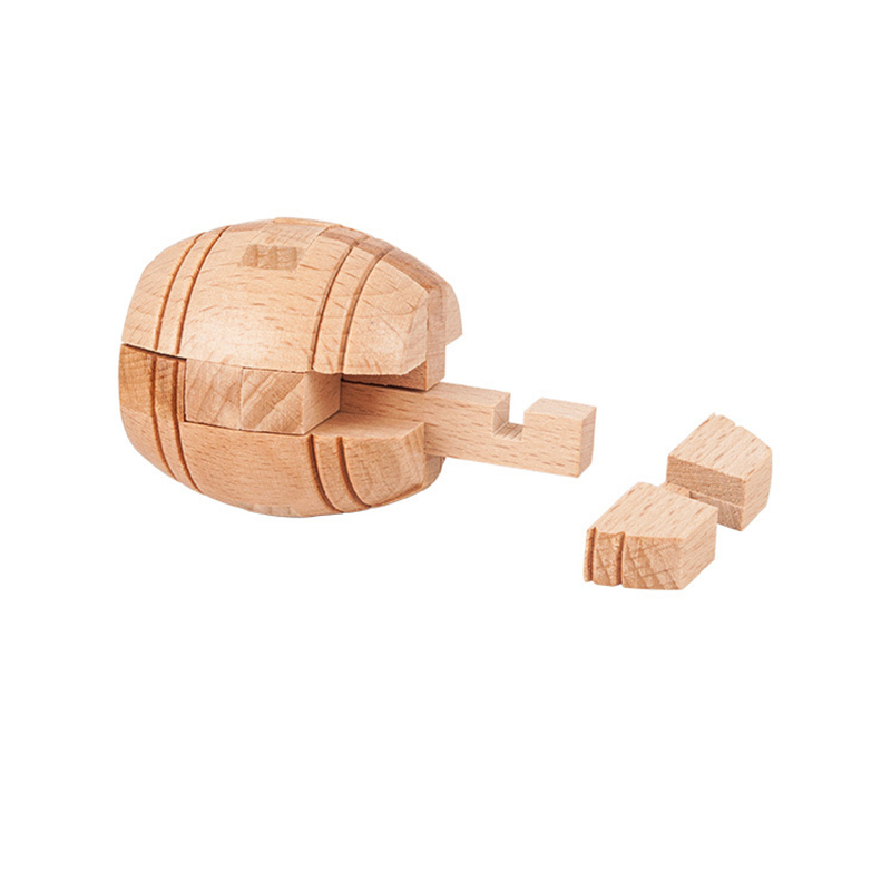 3D Magic Barrel Lock Puzzle Wooden Brain Puzzle Brain Teaser Kids Adult Intellectual Toy Gift Cube Jigsaw