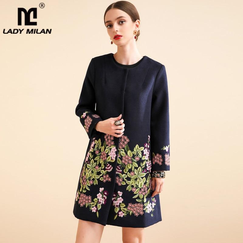 Dame Milan femmes piste Trench manteaux O cou manches longues broderie Floral mode manteau de laine pardessus