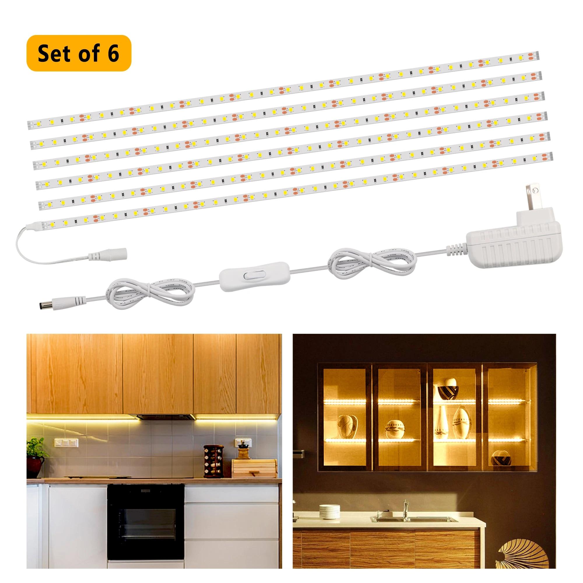 6pack Led Strip Lights 1200lm Under Cabinet Lighting Kit Flexible Stripe Lamp Led Tape Light Set For Kitchen Cabinets Bookcase Led Strips Aliexpress