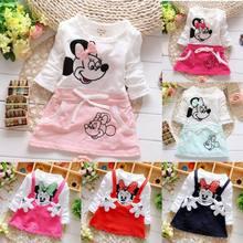 2020 novas meninas de verão dos desenhos animados minnie vestido de algodão de manga comprida roupas infantis princesa vestido casual wear