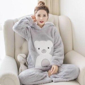 Image 2 - JULYS SONG Женская Фланелевая пижама, зимний пижамный комплект, розовая пижама с милыми мультяшными животными, толстая Пижама, женская повседневная домашняя одежда