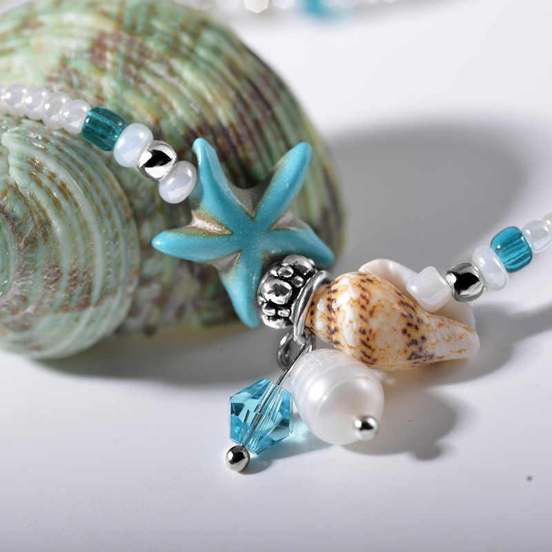 Avrupa ve Amerikan moda ulusal rüzgar denizyıldızı kabuk taş halhal Bohemian kabuklu el yapımı ayak dekorasyon