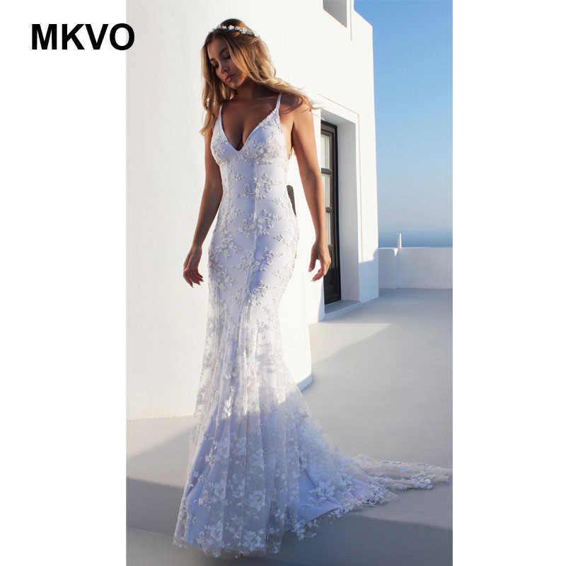 المرأة الدانتيل الأبيض النقي مثير الخامس الرقبة فستان بكتافة الرسن الأشرطة فستان طويل موضة حفلة أنيقة فستان Vestidos دي فييستا الإناث