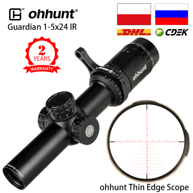 ohhunt Guardian 1-5X24 IR Hunting Thin Edge Riflescopes Glass Etched Reticle RG Illumination Turrets Lock Compact Shooting Scope 1
