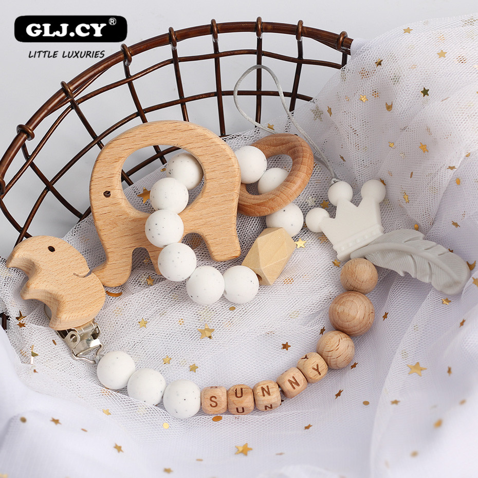 Baby Personalized Rattles Set Animal Elk Amigurumi Elephant Teether Wooden Pacifier Clip Holder ChainBPA Free Nursing Toys