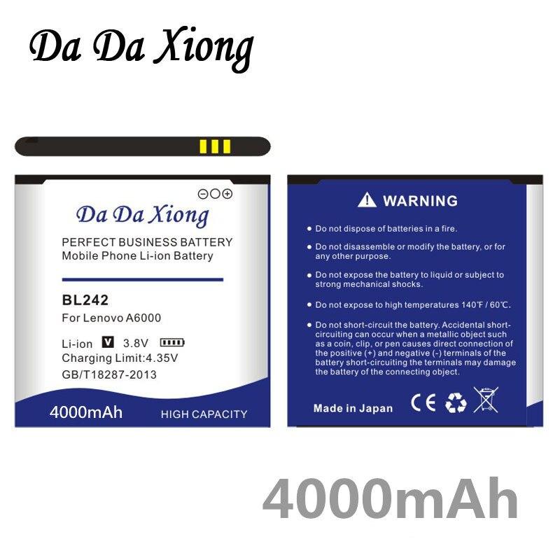 Da Da Xiong 4000mAh BL242 Batterie für Lenovo A6000 A6010 A3860 A3580 A3900 LeMeng K3 K30-T K30-W