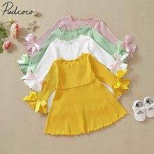 Детская одежда; сезон весна-осень пышные вечерние платья принцессы с длинными рукавами для маленьких девочек рифленый бантик; однотонные платья
