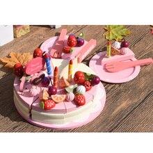 Дети делают вид пищевой реквизит, деревянная резка День рождения игрушечный торт набор, день рождения Чай десерт модель, родитель-ребенок Интерактивная игрушка