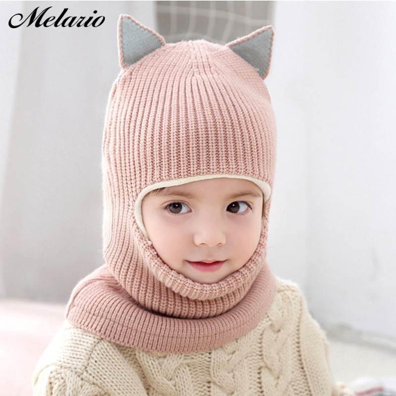 Melario Winter Children Hats Knitted Baby Girls and Boys Hat with Warm Fleece Lining Cute Cat Ears Hats for Kids cute hat