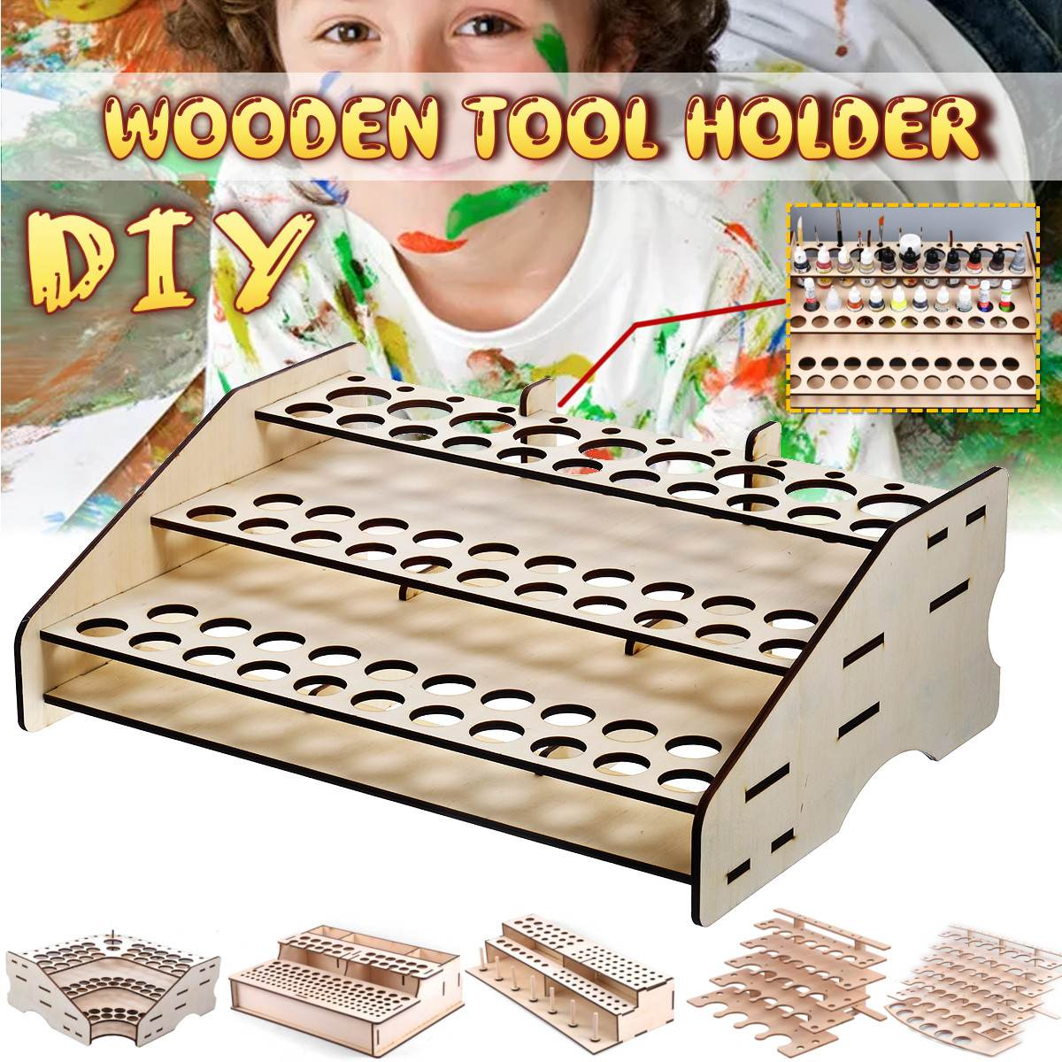 6 Type DIY Wooden Paint Bottles Storage Rack Holder Modular Master Paint Box Organizer Drawing Storage Tool Supplies Collapsible
