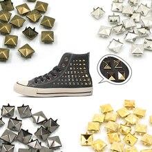100 шт. квадратные пирамидальные шпильки с заклепками, четыре металлические шпильки с заклепками для кожаной обуви в стиле панк, кожаные браслеты, аксессуары