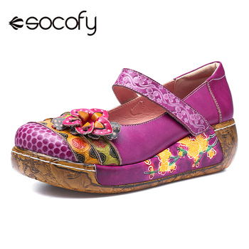 Socofy Retro Genuine Leather Women Flat Shoes Woman Bohemian Vintage Style Spring Summer Casual Cmfortable Platform Shoes Flats