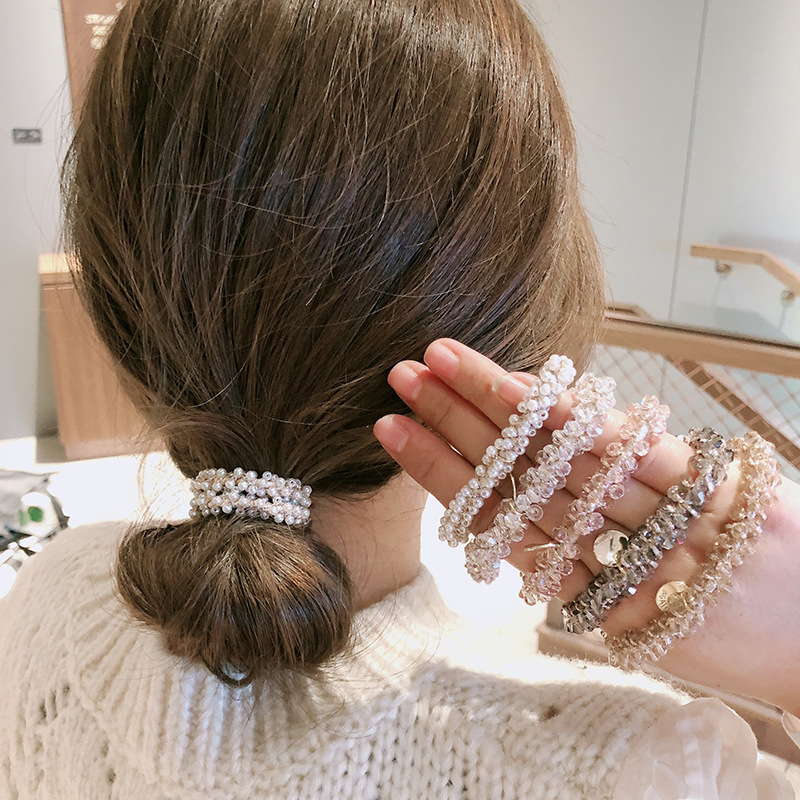 Ruoshui New Women Crystal Hair Ties Pearl Elastic Hairband Girls Scrunchies Rubber Band Women Hair Accessories Headwear Ornament