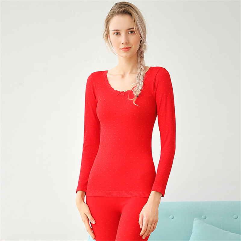 Fashion Autumn And Winter Polka Dot Body Slim Young  Fashion Bottoming Warm Women's Underwear Set Long Johns