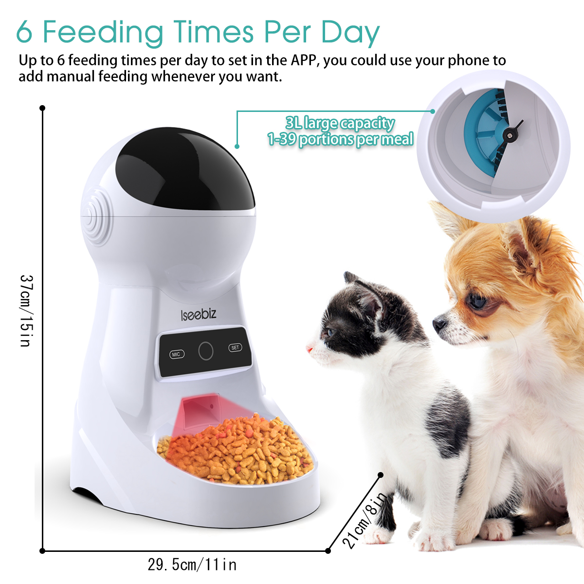 Pet - Wifi Automatic Pet Feeder 3L Pet Food Dispenser Feeder Medium and Large Cat Dog 4 Meal Voice Recorder and Timer