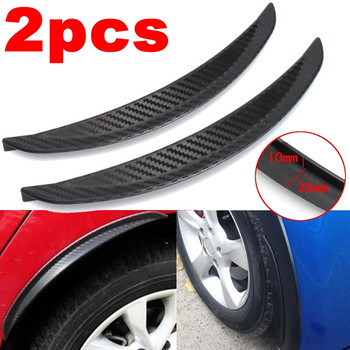 2Pcs Carbon Fibre Fender Flare Wheel Eyebrow Decorative Strips Car Tires Suitable Round Rubber Stickers Arch 25cm 33cm image