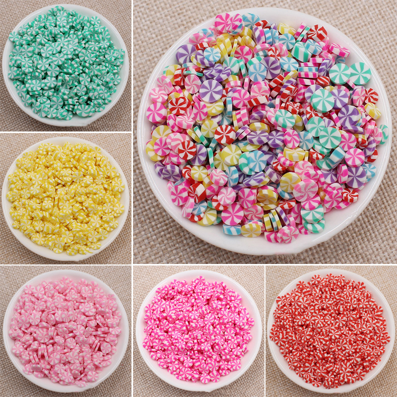 50g/lot Polymer Hot Clay Sprinkles For Slime Round Candy Fimos Fake Cake Decoration DIY Crafts Making Nail Arts Accessories 5mm