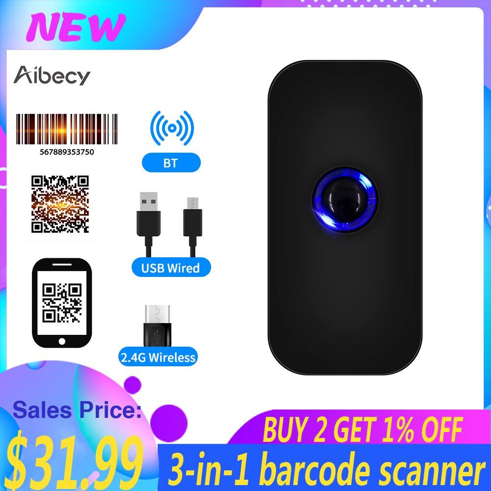 сканер для документов сканер штрих кодов Ручной сканер штрих-кода Aibecy 3 в 1 1D/2D/QR считыватель штрих-кодов поддержка BT & 2,4G беспроводное USB Пров...