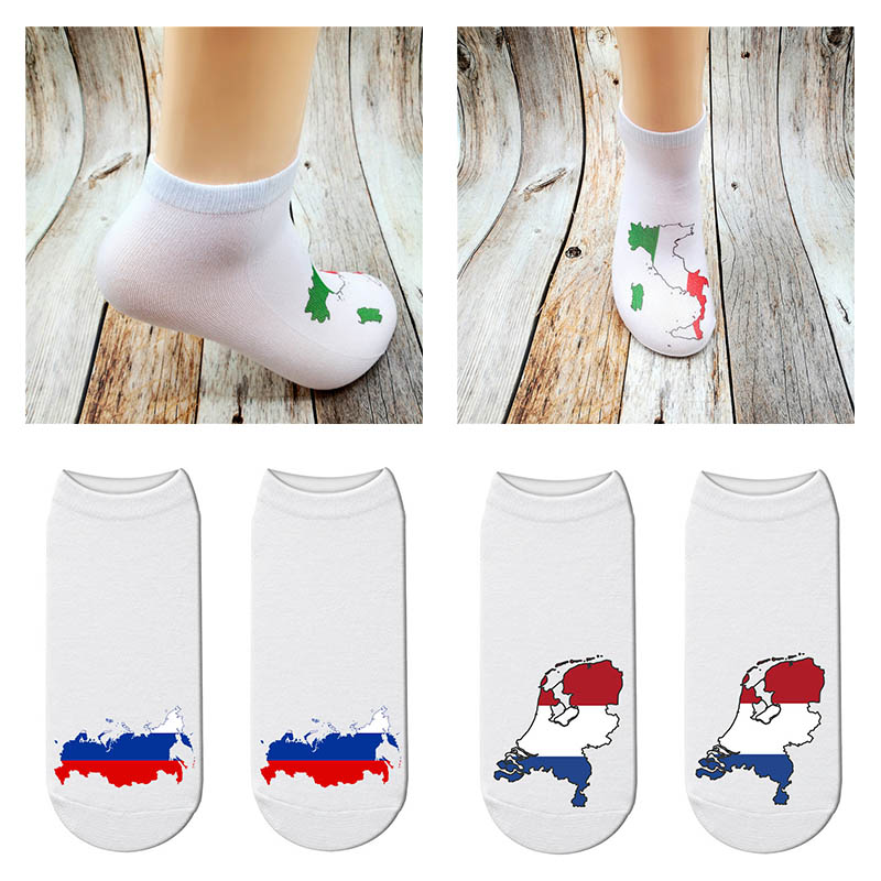 New Casual Fashion Men Women Socks National Map Flag Covering Socks 3D Printing Socks Fun Color Ankle Socks USA Russia Map Socks