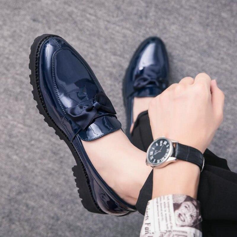 Hommes de luxe style italien Oxford nouveaux hommes robe bow chaussures ombre en cuir verni de luxe mode marié chaussures de mariage LH-79