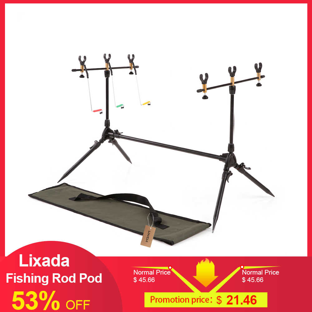 Lixada Adjustable Retractable Carp Fishing Rod Pod Stand Pemegang Memancing Tiang Pod Stand Fishing Tackle Memancing Aksesori