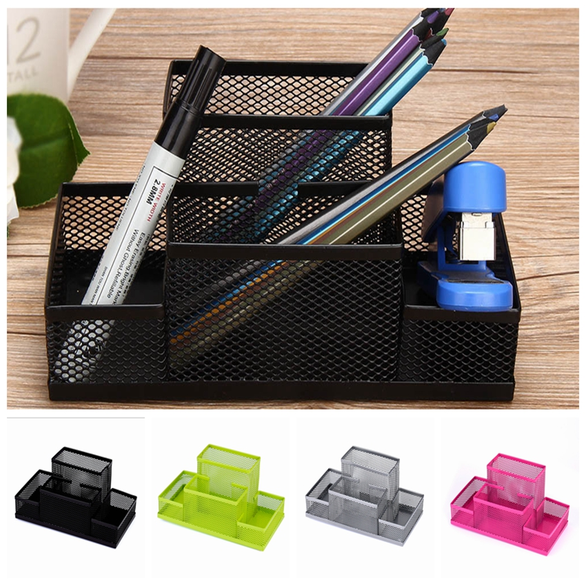 None Fashion Multi-function Office Supplies Desk Organizer Mesh Collection Pen Holder Organizer Box For Birthday Gift