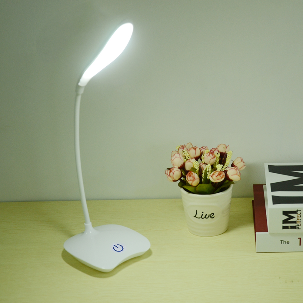 Flexible 18 LED Stand Desk Lamp Modern Touch Switch 3 Modes Dimmer USB Rechargeable Reading Study Light Table Lamp for Bedroom