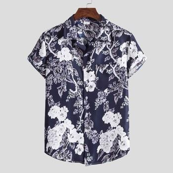 Streetwear Short Sleeve Shirt for men Fashion Ethnic Mens Shirts Casual Hawaiian Printing Shirt Blouse Men Tops Chemise Homme hawaiian shirt male short sleeve casual shirt for men fashion stripe blouse men summer new