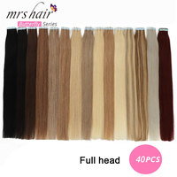 MRSHAIR 40pcs Tape In Human Hair Extensions 14 16 18 20 22 24 Machine Remy Hair On Adhesives Tape PU Skin Weft Invisible