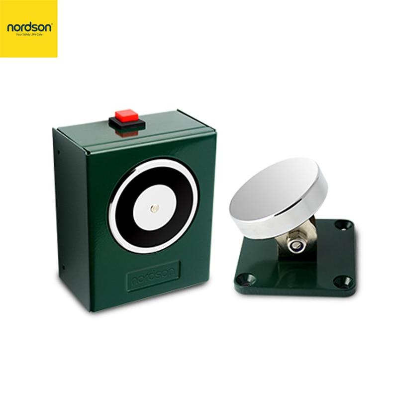 Nordson Original 12/24V Magnetic Floor Mounting Door Stopper 50kg/100Lbs Holding Force Fail-unlocked Electromagnetic Door Holder