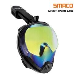 Maska do nurkowania SMACO pełna twarz z ochroną przed promieniowaniem UV przeciwmgielne odpinane mocowanie kamery 180 stopni panoramiczny widok w Maski do nurkowania od Sport i rozrywka na