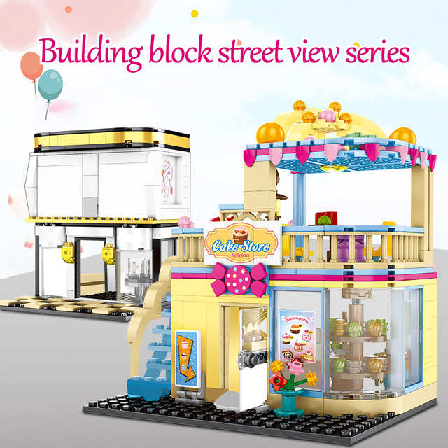 DIY Fashion Shop Building Blocks for Friends City Street View Delicious Dessert Cake Store Bricks Toys for Childrenl