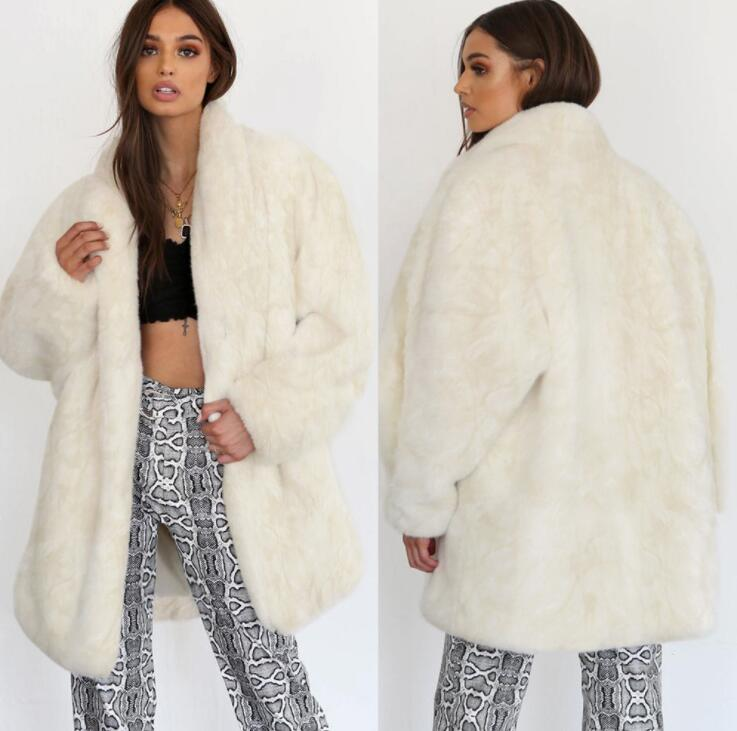 Autumn white faux mink   leather   jacket womens winter Long sleeve fur   leather   coat women slim jackets jaqueta de couro fashion