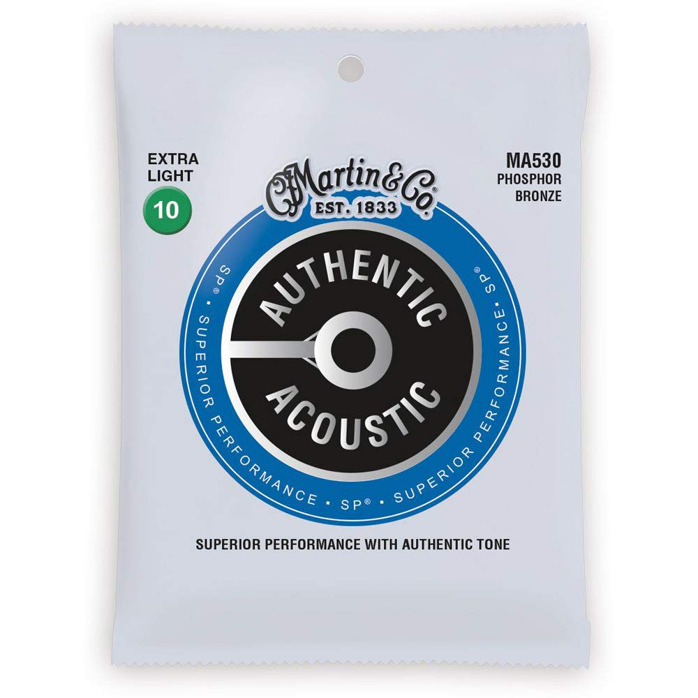 Martinguitar Authentic Acoustic Superior Performance Guitar Strings - 92/8 Phosphor Bronze Extra Light 10-47
