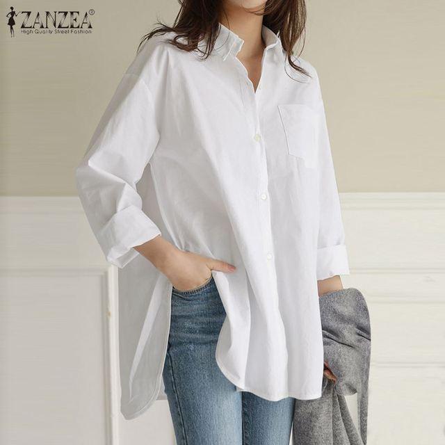 ZANZEA Damen Rundhals Halbärmel Bluse Tops Baumwolle Linen Split Tee Hemd Shirts