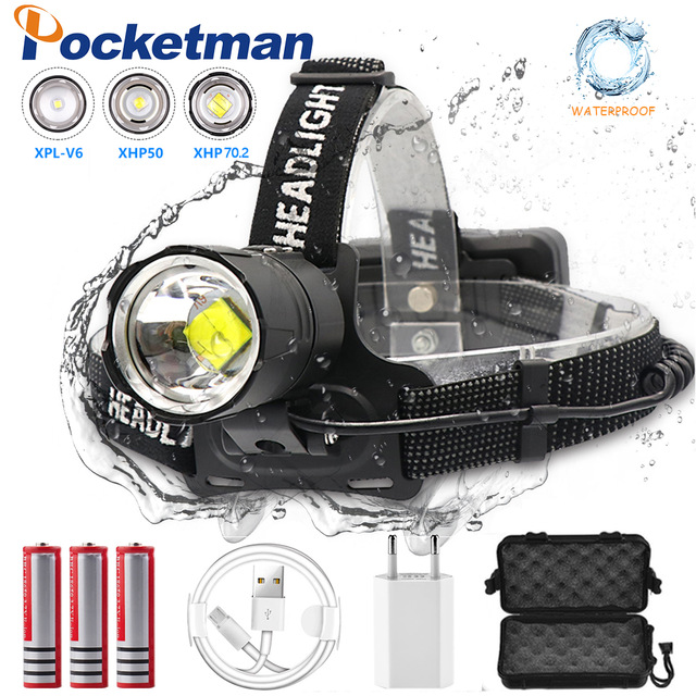 90000 Lumen XHP-70.2 Led Headlamp Fishing Camping Headlight High Power Lantern Head Lamp Zoomable USB Torches Flashlight 18650